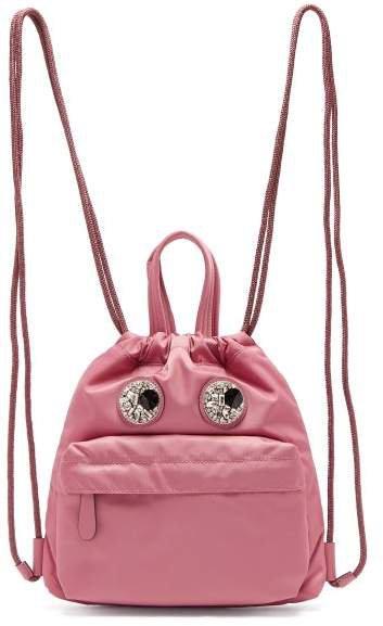 Mini Crystal Eyes Drawstring Backpack - Womens - Grey