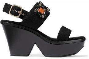 Embellished Felt Wedge Slingback Sandals