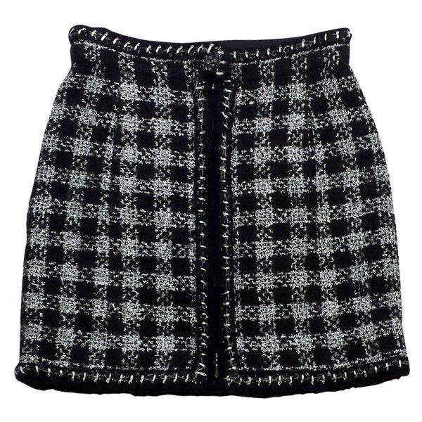 Chanel Black & Silver Metallic Tweed Skirt