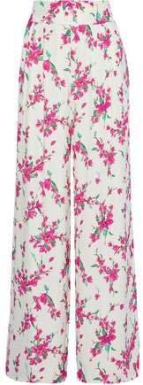 Steph Pleated Floral-print Crepe Wide-leg Pants