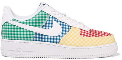 Air Force 1 Leather And Pvc-trimmed Gingham Canvas Sneakers - Blue
