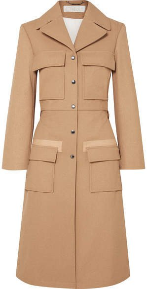 Woven Cotton Trench Coat - Tan