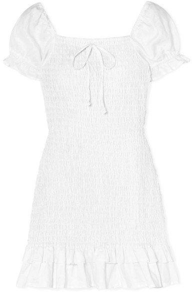 Faithfull The Brand | Cette ruffled shirred linen mini dress | NET-A-PORTER.COM