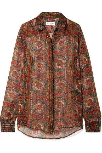 Saint Laurent   Printed silk-blend chiffon shirt   NET-A-PORTER.COM