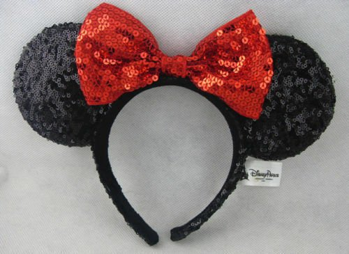 Minnie Mouse Ears Headband Black Sparkle Shimmer - Large Red Sequin Bow Mickey for sale online | eBay