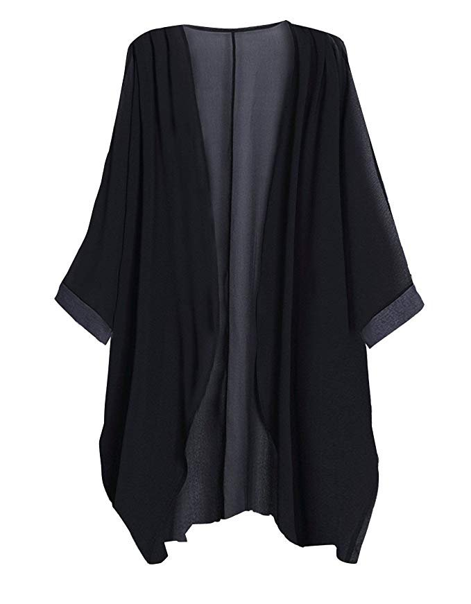 Tribear Women's Sheer Chiffon Kimono Cardigan Solid Casual Capes Beach Cover up at Amazon Women's Clothing store
