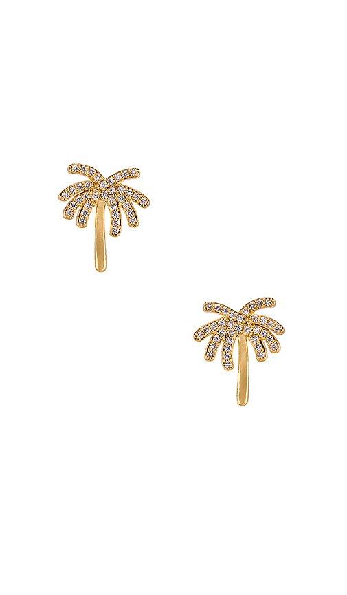 Ettika Palm Tree Stud Earring in Clear & Gold | REVOLVE