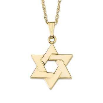 """14kt Yellow Gold Star of David Pendant Necklace. 18"""" 