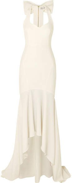 Claudette Bow-detailed Stretch-crepe Gown - Ivory