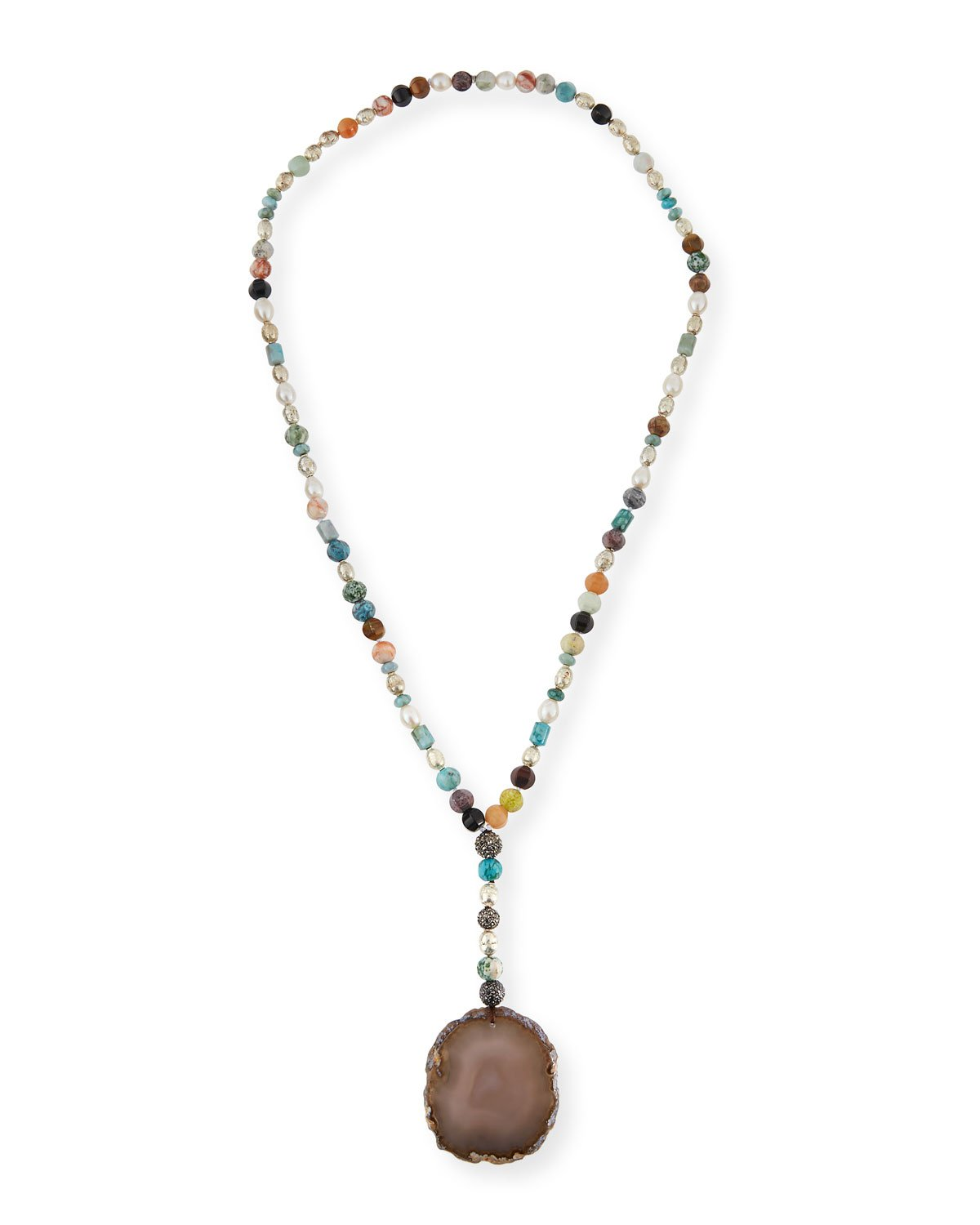 "Hipchik 22"" Imogen Beaded Agate Pendant Necklace"