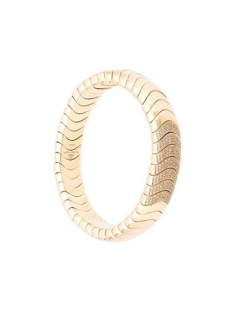 Mattia Cielo 18kt yellow gold diamond snake chain bracelet