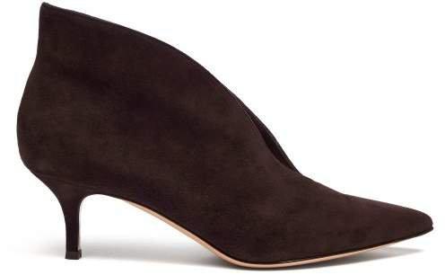 Vania 55 Suede Ankle Boots - Womens - Dark Brown