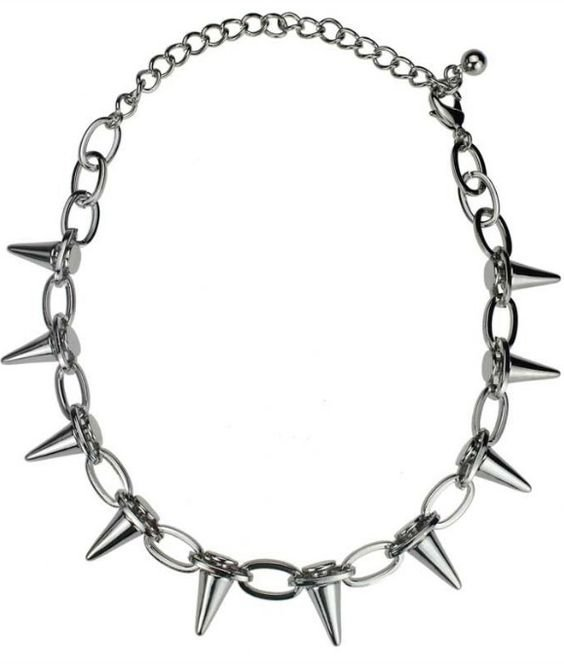 Silver Chain Rivets Thorn Necklace