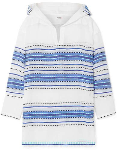 Welela Fringed Striped Cotton-blend Gauze Hoodie - Blue
