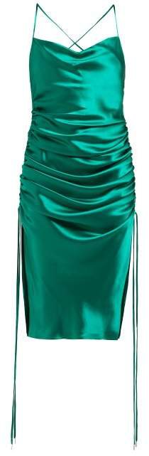 Yasmine Ruched Silk Satin Minidress - Womens - Green