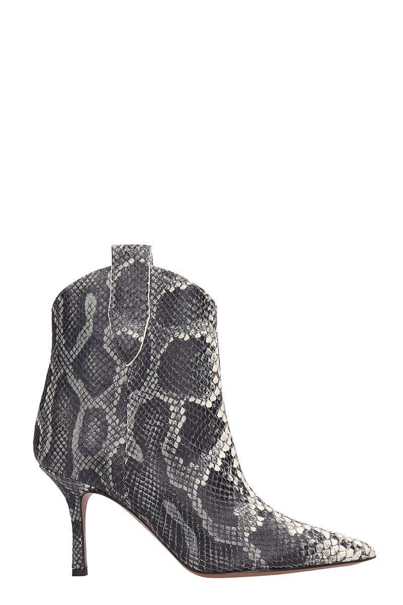 Marc Ellis Black Gray Leather Ankle Boots