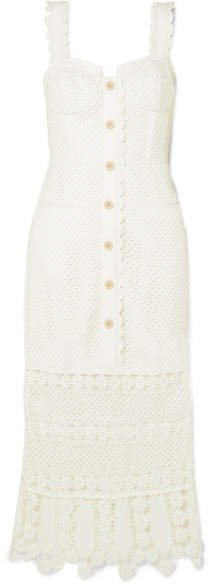 Crocheted Lace Midi Dress - Ivory