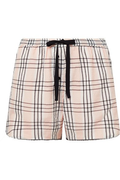 Morgan Lane | Bea plaid seersucker pajama shorts | NET-A-PORTER.COM