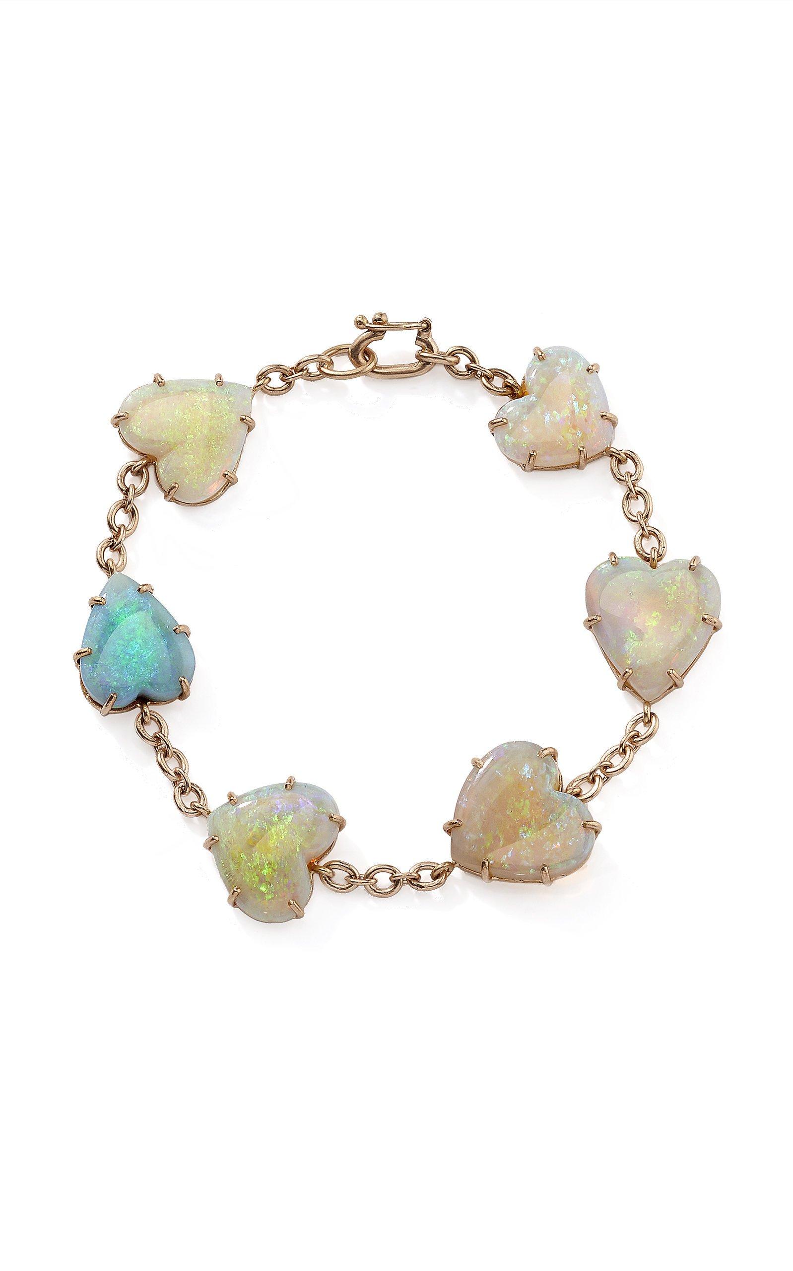 One-Of-A-Kind 18K Rose Gold Opal Hearts Bracelet by Irene Neuwirth   Moda Operandi