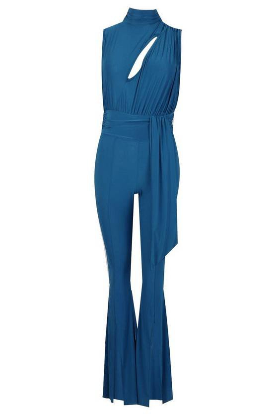 Slinky Cut Out Flare Leg Ruched Jumpsuit | Boohoo