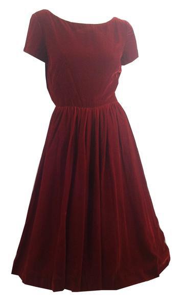 Ruby Red Velvet Party Dress w/ Blouson Back and Full Skirt circa 1960s – Dorothea's Closet Vintage