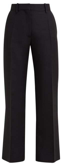 Tailored Virgin Wool Blend Trousers - Womens - Black