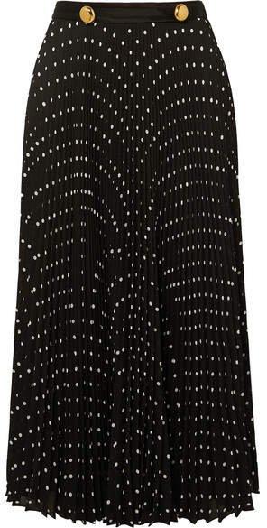 Satin-trimmed Pleated Polka-dot Crepe Midi Skirt - Black