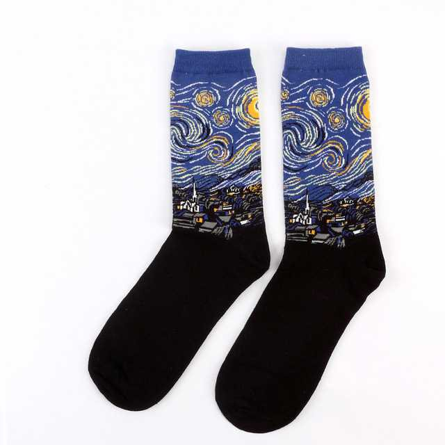 Hot Starry Night Autumn Winter Retro Women Personality Art Van Gogh Mural World Famous Painting Male Socks Oil Funny Happy Socks-in Socks from Women's Clothing & Accessories on Aliexpress.com | Alibaba Group