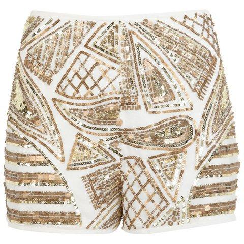 gold embellished shorts