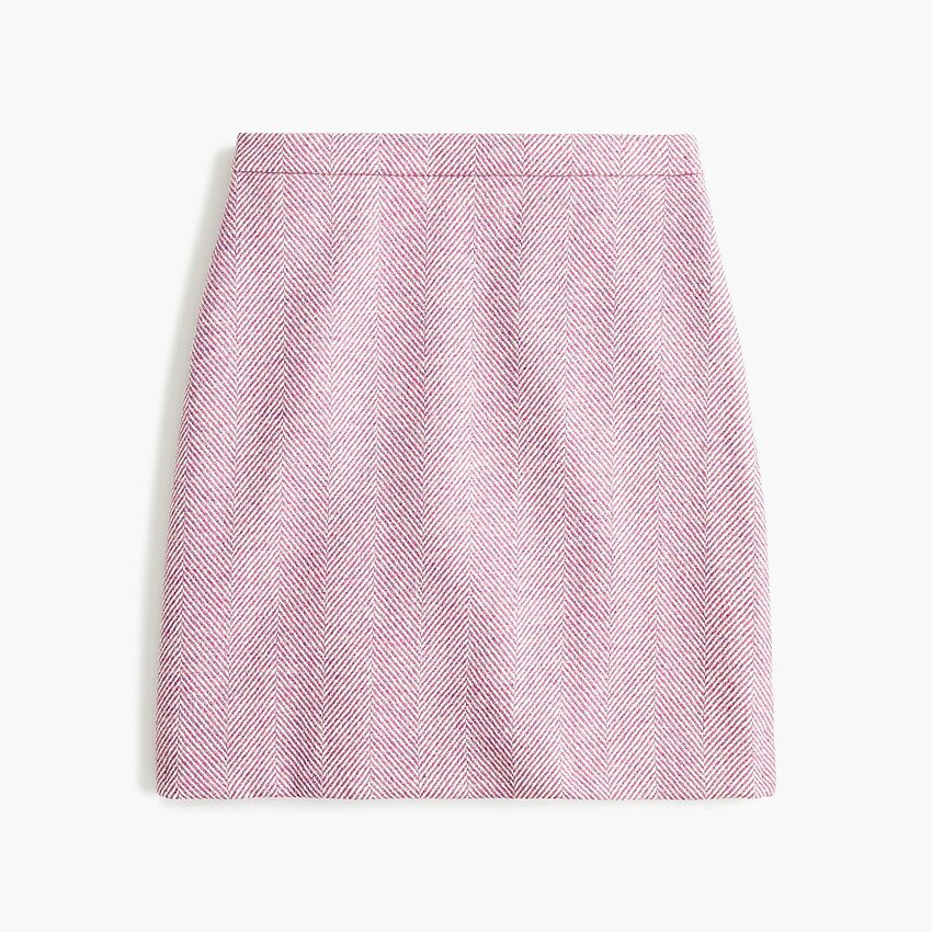 J.Crew: Wool Mini Skirt In Herringbone pink