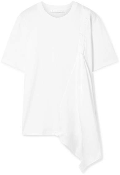 Victoria, Victoria Beckham - Asymmetric Draped Cotton-jersey And Satin-twill T-shirt - White
