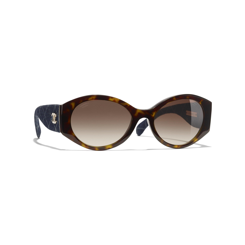 CHANEL - oval sunglasses Dark Tortoise & Dark Blue frame. Brown lenses.