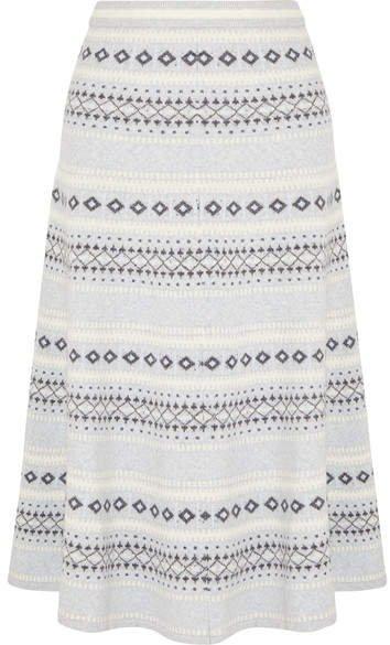 Fair Isle Knitted Midi Skirt - Light gray