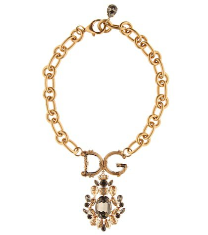 Crystal-embellished chain necklace