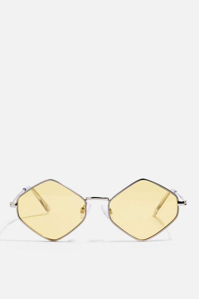 Metal Hexagon Yellow Sunglasses | Topshop