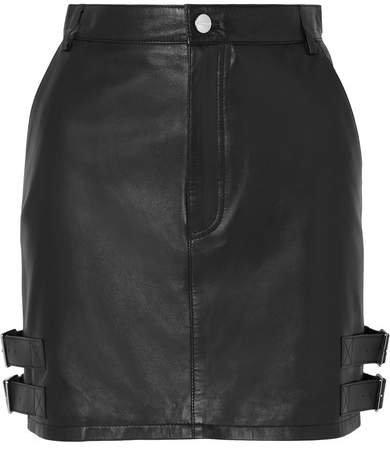 Lawrence Buckled Leather Mini Skirt - Black