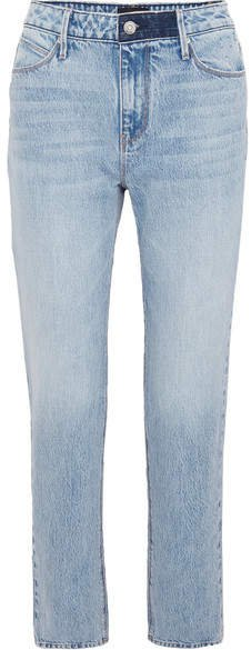 Luke Distressed High-rise Straight-leg Jeans - Light blue