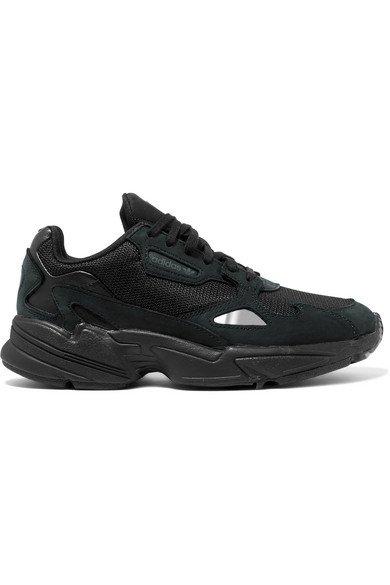 adidas Originals | Falcon mesh, suede and leather sneakers | NET-A-PORTER.COM