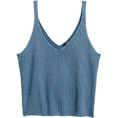 H&M Blue Ribbed Crop Top