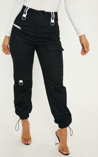Black Pocket Detail Cargo Trouser   Trousers   PrettyLittleThing