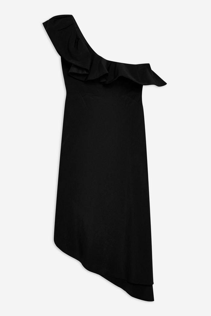 Ruffle One Shoulder Midi Dress | Topshop black