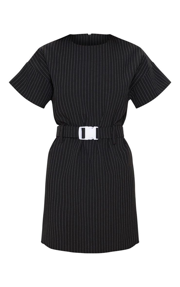 Black Pin Stripe Belt T Shirt Dress | Dresses | PrettyLittleThing USA