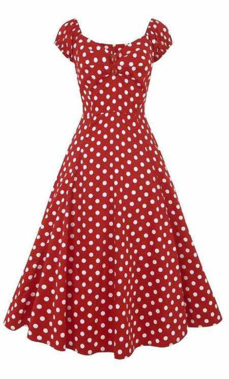 Collectif Dolores 50s Style Red and White Polka Dot Doll Dress – Cherry Red Vintage
