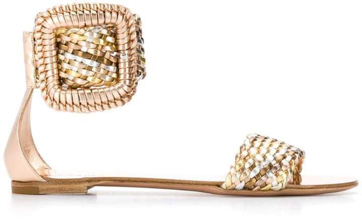 metallic woven sandals