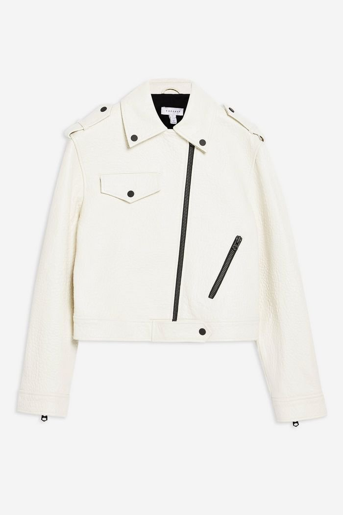 **White Leather Biker Jacket by Topshop Boutique | Topshop
