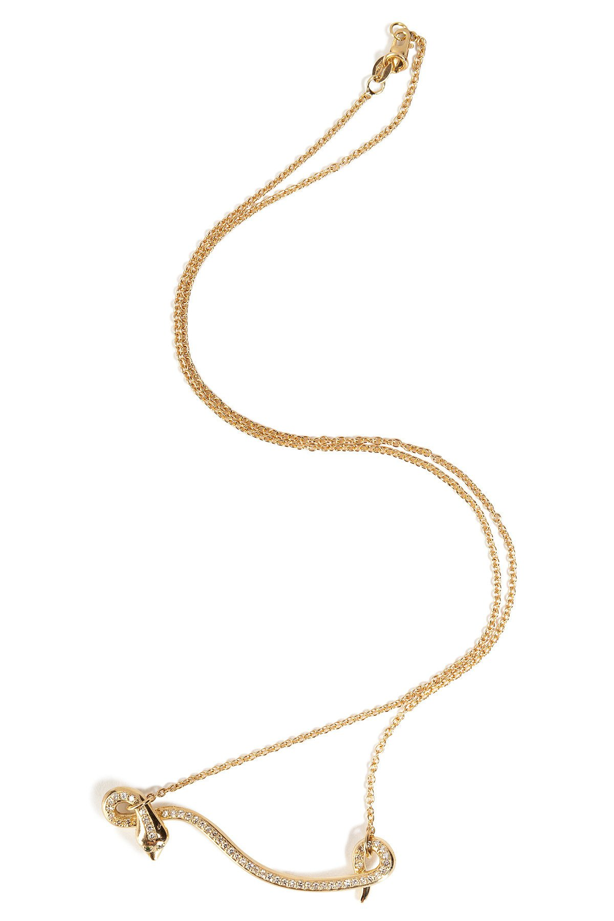 18kt Yellow Gold Flying Snake Necklace with Diamonds Gr. One Size