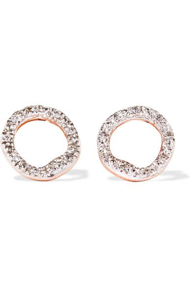 Monica Vinader | Riva Circle rose gold vermeil diamond earrings | NET-A-PORTER.COM