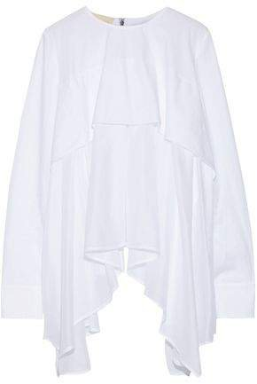 Layered Draped Cotton-poplin And Voile Top