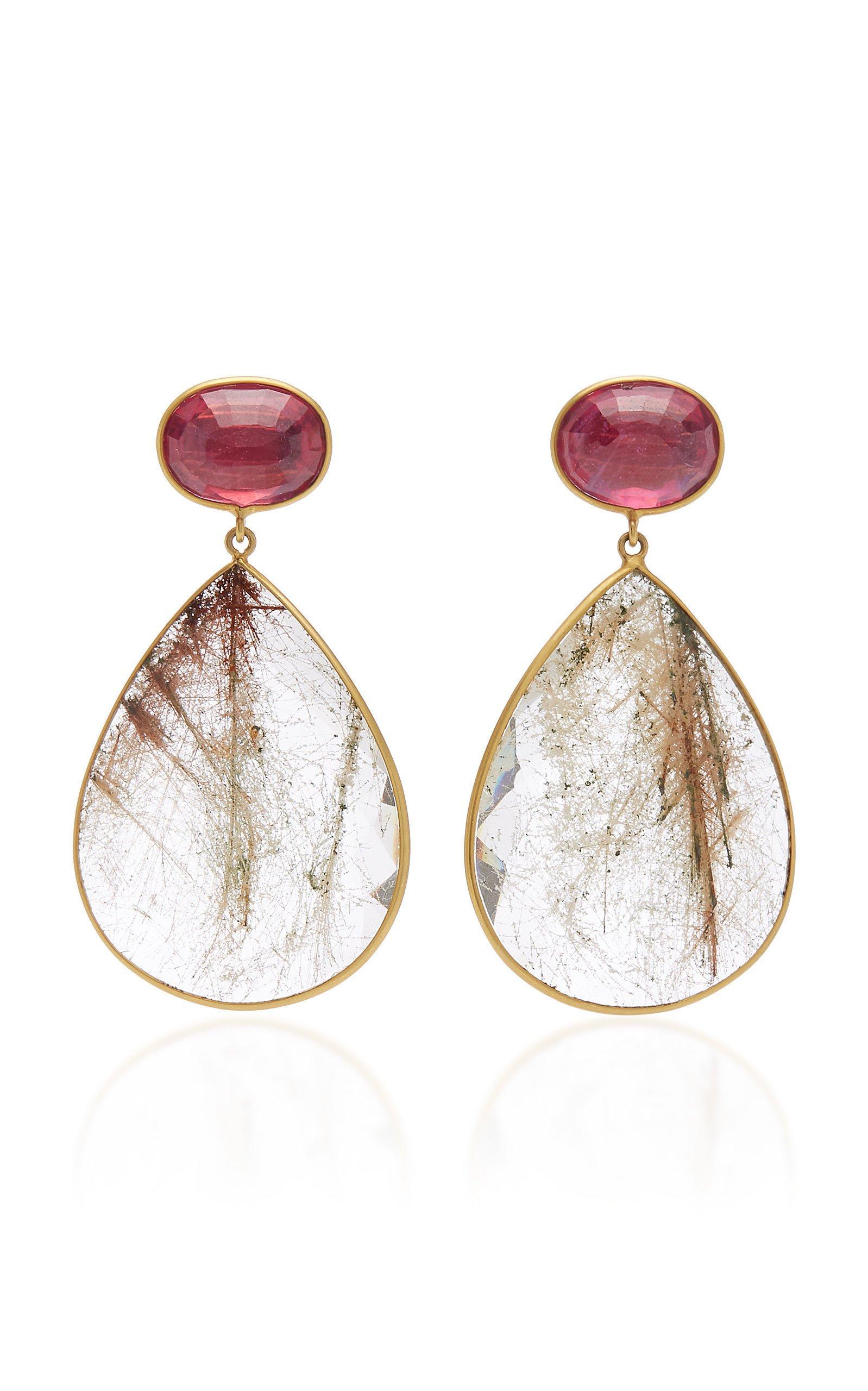 Bahina One of a Kind Ruby and Quartz Earrings