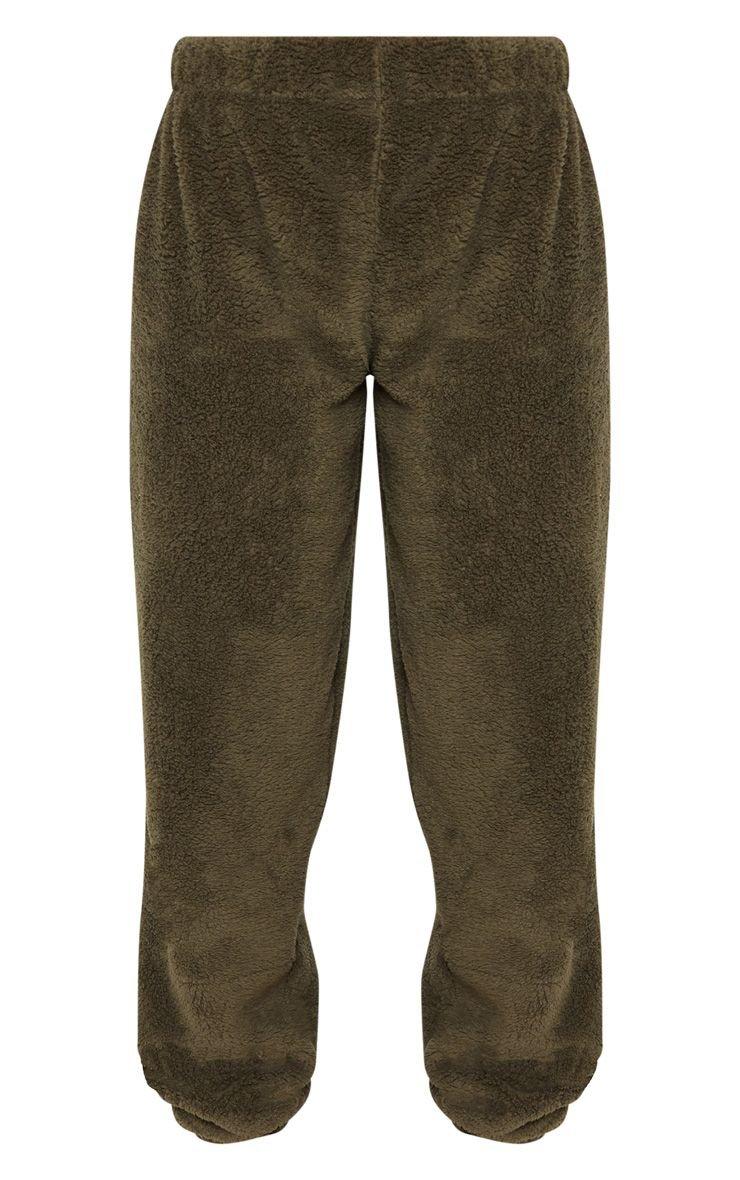 Khaki Fleece Jogger   Trousers   PrettyLittleThing